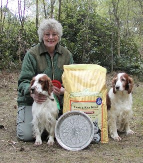 Mrs J Revill's Julita Rustic Ramble (left), the Puppy Class winner.