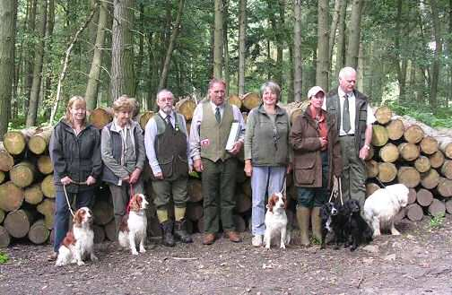 Julie Shawyer with Fiergen Silver Spirit, Mary Evans with Sycharth Catrin & Sandra Bell with Glanhafon Gwennol with the assessors & successful Cocker & Clumber spaniels  Photo supplied by Sandra Bell